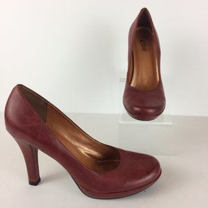 Diba Mardi Brick Red Round Toe High Heel Pumps ~ 9